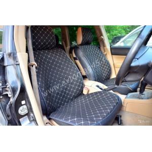 Чехлы  накидки на сиденье лен 2Д черный белая нитка комплект 5шт