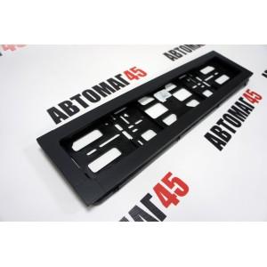 Широкая  рамка номерного знака черная с задней стенкой алюминий