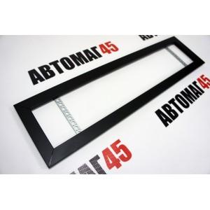 Широкая  рамка номерного знака черная без углов алюминий