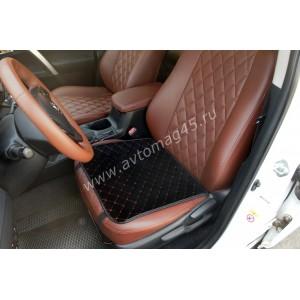 888-2  Накидка на сиденье на силиконе велюр черный 45 x 45см 1шт