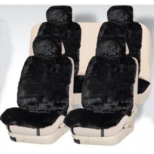 Рус Автотренд Накидки короткий ворс мутон черный 140x55 на весь салон 5шт