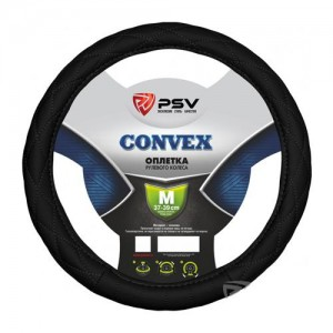 PSV CONVEX оплетка руля кожа стеганая черная размер XL