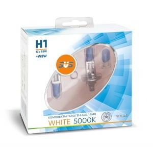 SVS  лампа H1 White 12V 55W 5000K 2шт