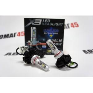 X3 чип  ZES LED 2шт HB3 12-24В 50W 6500K 6000Lm с обманкой гарантия 3мес