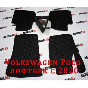 EVA ЭВА  коврики в салон Volkswagen Polo Лифтбэк с 2020 черные рисунок соты комплект 4шт