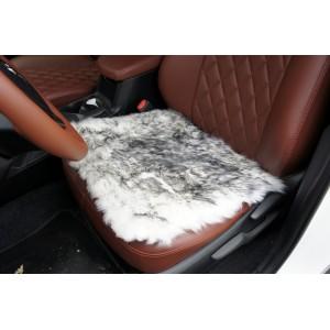 Накидка-подушка на сиденье длинный ворс палевый 44х44см