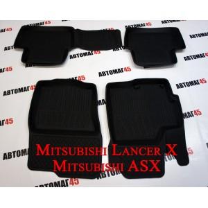 Коврики  в салон Mitsubishi Lancer 10 с 2007г Mitsubishi ASX с 2010г комплект 4шт