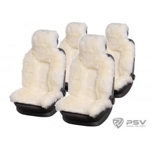 Premium  Накидки комбинированные белый 140x50 на весь салон 5шт
