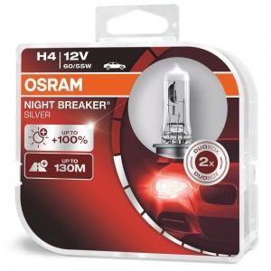 Osram  лампа H4 Night Breaker SILVER +100% 12V 55W 2шт