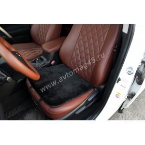 Накидка  подушка на сиденье короткий ворс черный 45х45см