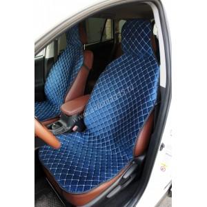 888-2  Накидки на сиденье на силиконе велюр синий 2шт