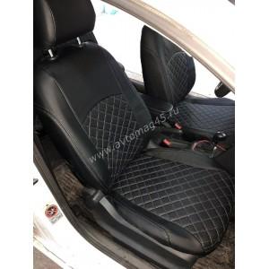 Авточехлы  Volkswagen Polo седан 1/1 2009-2020г экокожа черная Ромб