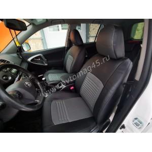 Авточехлы  Toyota RAV4 2012-2019г экокожа черно-серая