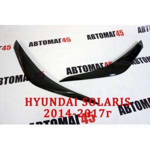 Реснички  на фары Hyundai Solaris 2014-2017г 2шт