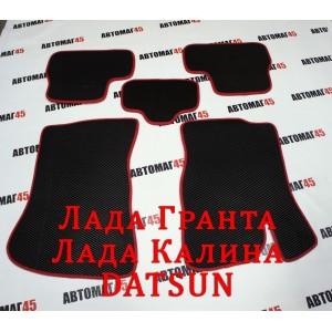 EVA ЭВА  коврики в салон Лада Kalina Калина Granta Гранта Datsun On-do Mi-do черные красный кант рисунок ромб комплект 4шт
