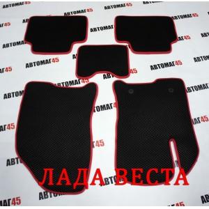 EVА ЭВА  коврики в салон LADA Vesta Веста черные красный кант рисунок ромб комплект 4шт