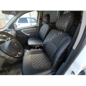 Авточехлы  Renault Duster 2015-2021г 1 поколение 2/3 Nissan Terrano с 2017г экокожа черная ромб