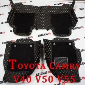 Ковры 5D экокожа Toyota Camry V40/V50/V55 2006-2018г черный комплект с ворсом