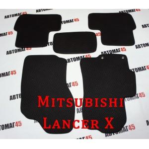 EVA ЭВА  коврики в салон Mitsubishi Lancer 10 черные рисунок ромб  4шт