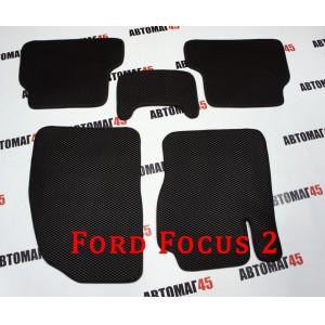 EVA ЭВА  коврики в салон Ford Focus 2 черный рисунок ромб комплект 4шт