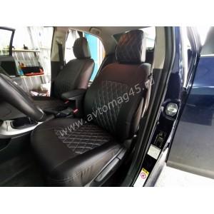 Авточехлы  Toyota Corolla 2013-2019г экокожа черная Ромб