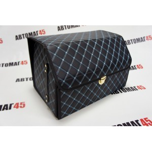 Органайзер багажника кофр экокожа черный с синей ниткой 48 x 30 x 28см