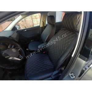 Авточехлы  Skoda Rapid с 2012г 2/3 Volkswagen Polo лифтбэк после 2020г экокожа черная ромб