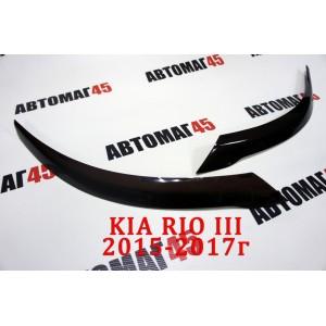 Реснички  на фары Kia Rio 2015-2017г рестайлинг 2шт