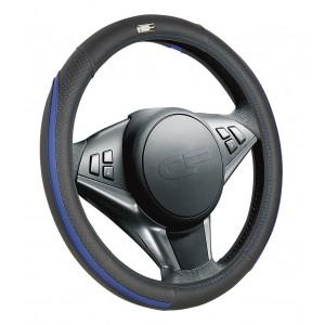 Car Fashion Step  оплетка руля экокожа черно-сине-белая размер M