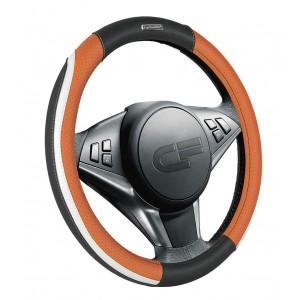 Car Fashion Step  оплетка руля экокожа черно-оранжево-белая размер M