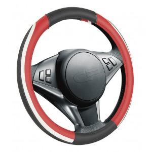 Car Fashion Step  оплетка руля экокожа черно-бело-красная размер M