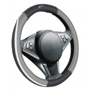 Car Fashion Step  оплетка руля экокожа черно-серо-белая размер M
