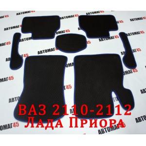 EVA ЭВА  коврики в салон Лада Приора ВАЗ 2110 черные синий кант рисунок ромб комплект 4шт