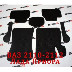 EVA ЭВА  коврики в салон Лада Приора ВАЗ 2110 черные рисунок ромб комплект 4шт