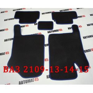 EVA ЭВА  коврики в салон ВАЗ 2109 2114 2115 черные синий кант рисунок ромб  комплект 4шт