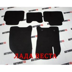 EVА ЭВА  коврики в салон LADA Vesta Веста черные рисунок ромб комплект 4шт