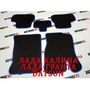EVA ЭВА  коврики в салон Лада Kalina Калина Granta Гранта Datsun On-do Mi-do черные синий кант рисунок ромб комплект 4шт