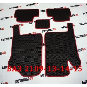 EVA ЭВА  коврики в салон ВАЗ 2109 2114 2115 черные красный кант рисунок ромб  комплект 4шт