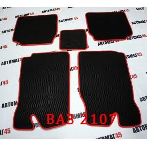 EVA ЭВА  коврики в салон ВАЗ 2101 2107 черные красный кант рисунок ромб комплект 4шт