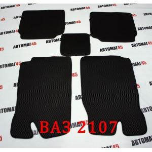 EVA ЭВА  коврики в салон ВАЗ 2101 2107 черные рисунок ромб комплект 4шт
