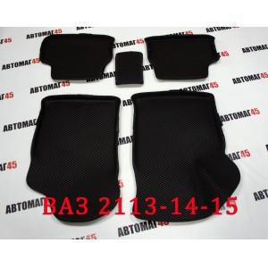 EVA ЭВА 3D коврики в салон ВАЗ 2109 2114 2115 черный рисунок ромб комплект 4шт