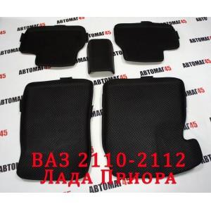 EVA ЭВА 3D  коврики в салон Лада Приора ВАЗ 2110 черный рисунок ромб комплект 4шт