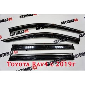 Дефлекторы  окон Toyota RAV4 c 2019г с хромом комплект 4шт