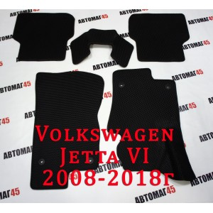 EVA ЭВА  коврики в салон Volkswagen Jetta 2011-2021г  черные рисунок соты комплект 4шт