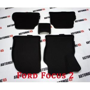 EVA ЭВА 3D  коврики в салон Ford Focus 2 черный рисунок ромб комплект 4шт