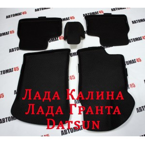 EVA ЭВА 3D  коврики в салон Лада Kalina Калина Granta Гранта Datsun On-do Mi-do черные рисунок ромб комплект 4шт
