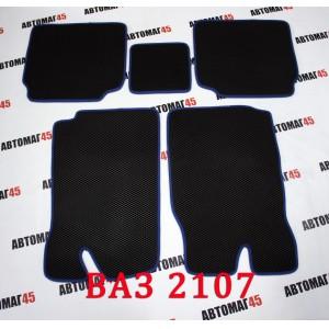 EVA ЭВА  коврики в салон ВАЗ 2101 2107 черные синий кант  рисунок ромб комплект 4шт