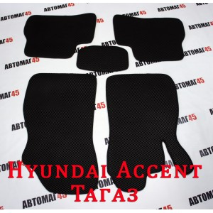 EVA ЭВА  коврики в салон Hyundai Accent черные рисунок ромб комплект 5шт