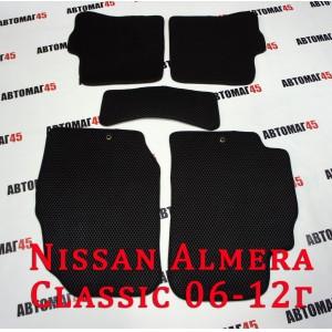 EVA ЭВА  коврики в салон Nissan Almera Classic 2006-2013г черные рисунок ромб комплект 5шт