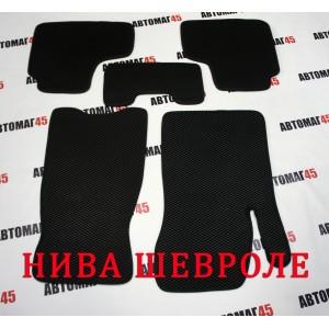 EVA ЭВА  коврики в салон Нива Шевроле Niva черные рисунок ромб комплект 4шт